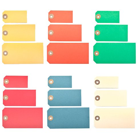Coloured manila parcel tags